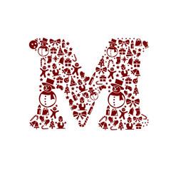 Christmas alphabet M on White Background