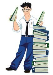 Geschäftsmann mit Aktenordner und Unterlagen