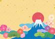 日本の文様 富士山 初日の出 - 71204956