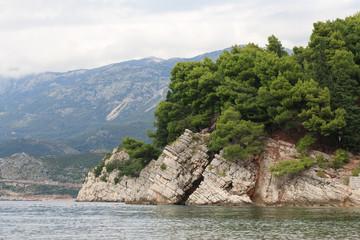Rock in the Adriatic Sea on the Budva Riviera.