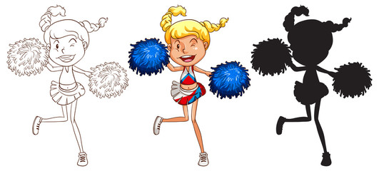 Sketches of a cheerdancer in different colours