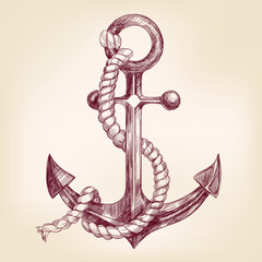anchor hand drawn vector llustration