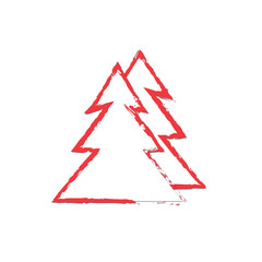 vector red christmas  tree