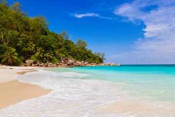 Tropical beach at island Praslin Seychelles