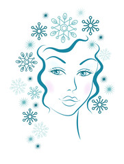 Winter girl with blue snowflakes hair