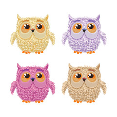 Set of cartoon owls for wisdom or education concept design. All