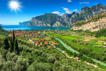 Lake Garda and Sarca river near Torbole town,Italy,Europe