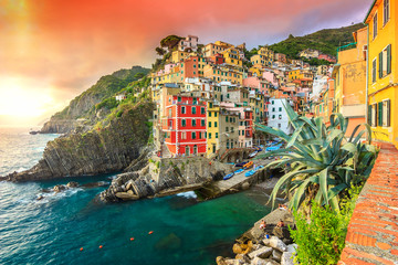 Riomaggiore village on the Cinque Terre coast of Italy,Europe