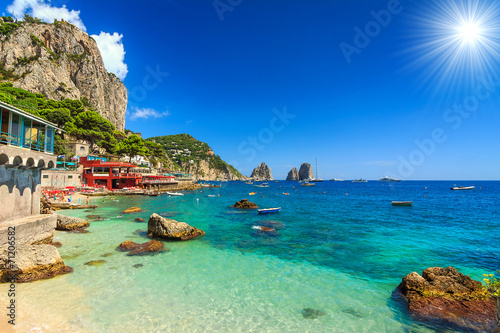 Poster Eiland Beautiful beach in Capri island,Italy,Europe