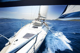 sailing on Yacht at sunny day