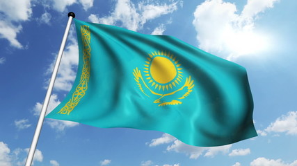 flag of Kazakhstan with fabric structure against a cloudy sky