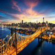 New York City - sunset over manhattan with Queensboro bridge