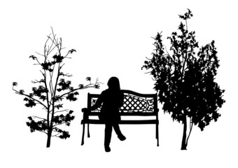 girl on a bench in the park