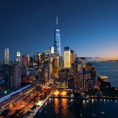 New York City - colorful sunset over manhattan
