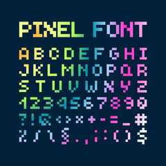 Multicolored Gradient Pixel Font, Alphabet