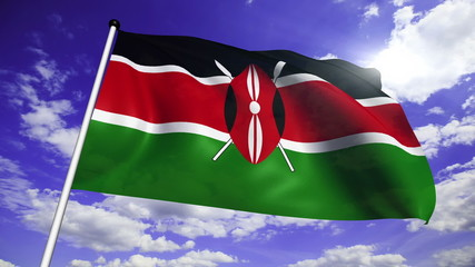 flag of Kenya with fabric structure against a cloudy sky