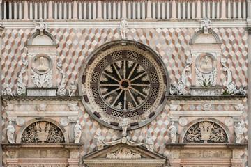 detail of Capella Colleoni facade in Bergamo