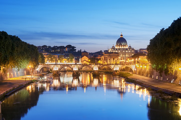 River Tiber, Ponte Sant Angelo and St. Peter's Basilica