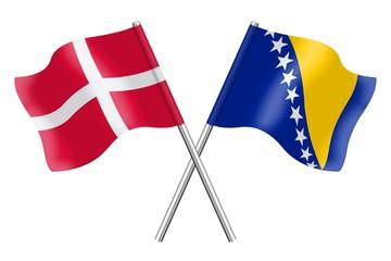 Flags: Denmark and Bosnia-Herzegovina
