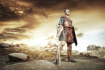 Ancient Greek warrior fighting in the combat