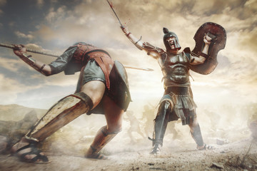 Ancient Greek warriors Achillesand Hector fighting in the combat