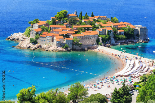 Leinwanddruck Bild Sveti Stefan island in Budva, Montenegro
