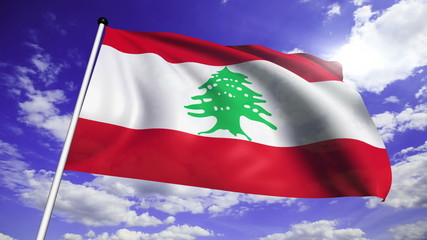 flag of Lebanon with fabric structure against a cloudy sky