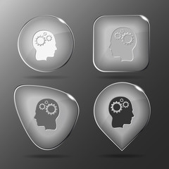 Human brain. Glass buttons. Vector illustration.