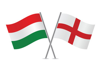 English and Hungarian flags. Vector illustration.