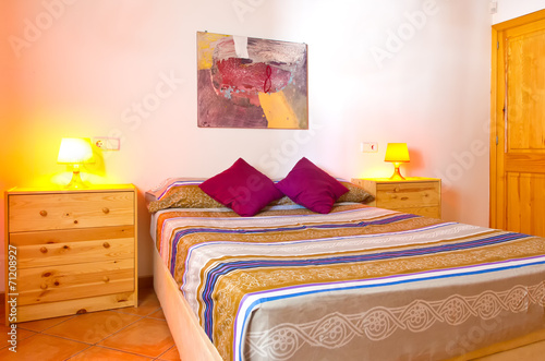 canvas print picture Schlafzimmer im Landhausstil