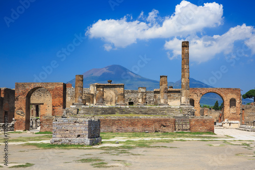 Ruins of Pompeii and volcano Mount Vesuvius, Italy