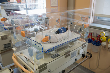 Incubator in intensive care unit in hospital