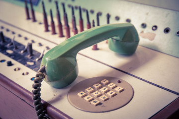vintage old telephone, Green retro phone