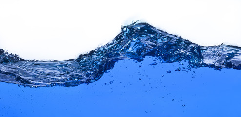 Clean water wave with bubbles over white background