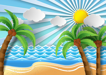 Coconut trees on the beach and sun shining.vector illustration.
