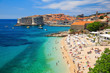 canvas print picture - Old town and the beach, Dubrovnik Croatia