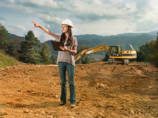 female engineer checking construction
