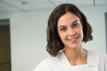 Portrait of a female nurse smiling in hospital