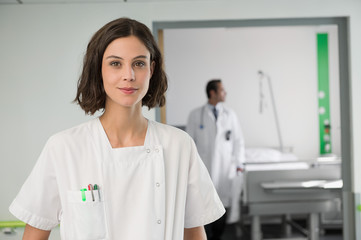 Portrait of a female nurse in hospital