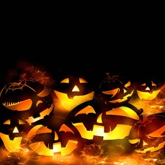 halloween pumpkins and fire flames black background