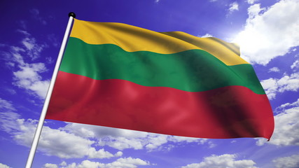 flag of Lithuania with fabric structure against a cloudy sky