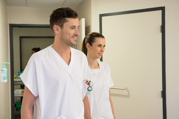Doctor and nurse in a hospital corridor