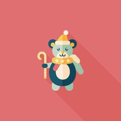 Christmas teddy bear flat icon with long shadow,eps10