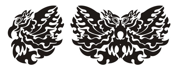 Tribal bird wing and butterfly