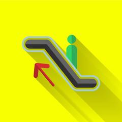 colorful flat design escalator up icon