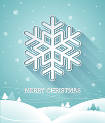 Vector Christmas illustration with 3d snowflake