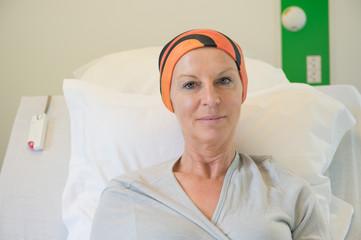 Patient receiving out-patient chemotherapy treatment
