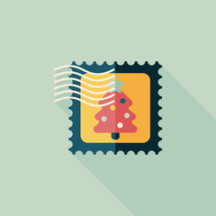 Christmas stamp flat icon with long shadow,eps10