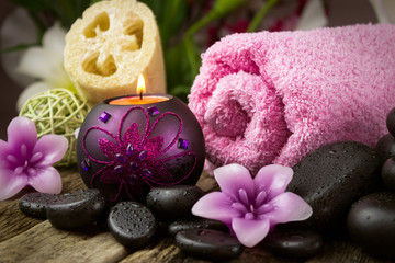 Spa setting with spa stones