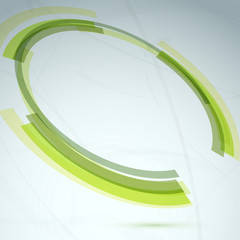Green round spin element abstract background